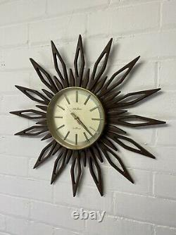Original Seth Thomas Vintage Starburst /Sunburst Clock mid century teak 1960s