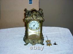 Ornate Bronze Seth Thomas Carriage Clock