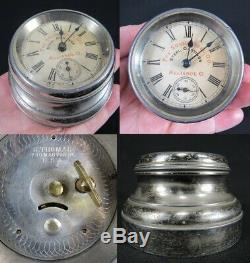 RARE antique Seth Thomas Advertising Clock PAPERWEIGHT miniature SOLID STEEL CO