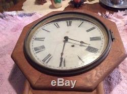 Railroad Depot Clock Seth Thomas Regulator Drop Octagon, Found In Estate