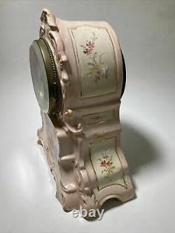 Rare Antique Germany Clock Royal Rudolstadt Porcelain Base Seth Thomas Movement