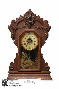 Rare Antique Seth Thomas Co 23 Mantel Clock 8 Day Chimes Figural Brass Accents