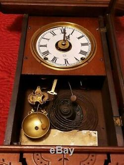Rare Antique Seth Thomas Eclipse Parlor Clock Hanging Wall Mahogany like wood