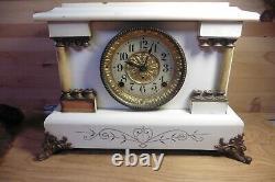 Rare Antique Seth Thomas Mantle Clock Brass Lion corner legs some bakelite RARE