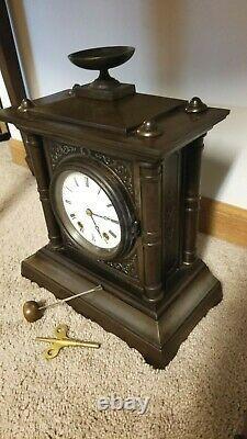 Rare Antique Seth Thomas & Sons Tucker Bronze Mantel Clock Circa 1872