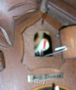 Rare German Seth Thomas Hand Carved Working 8 Day Black Forest Cuckoo Clock