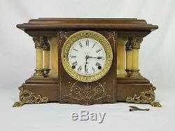 Rare Seth Thomas Shasta 1911 Mantel Clock Brown Adamantine Restored Runs Great