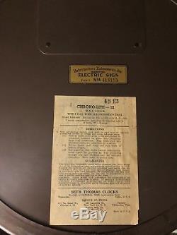 Rare Vintage Neon Clock Seth Thomas Deco Chrono Lite 12