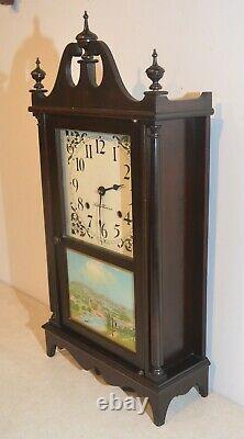 Restored Seth Thomas Plymouth 1921 Mahogany Pillar & Scroll Antique Clock