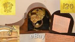 Restored Seth Thomas Tambour 12-1928 Antique Cabinet Clock In Ribbon Mahogany