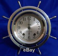 SETH THOMAS ANTIQUE NICKEL PLATED BRASS SHIPS BELL-4 CLOCK Circa 1935 1940