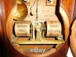 SETH THOMAS PARLOR CALENDAR No. 5 DOUBLE DIAL CIRCA 1876 CLOCK