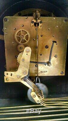 SETH THOMAS WESMINSTER MANTEL CLOCK antique vintage wood chime pendulum key