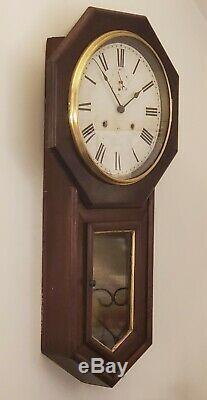 SETH THOMAS World 15 Day Octagon Long Drop School House Regulator Wall Clock