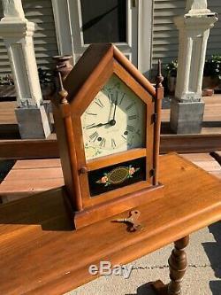 Serviced 1948 SETH THOMAS Sharon 7W Steeple Chime Clock Maple Post-WWII Warranty