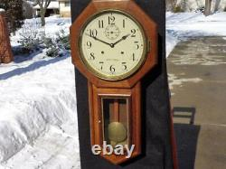 Seth Thomas 15 Day World Wall Regulator Office Clock Seconds Bit Painted Dial