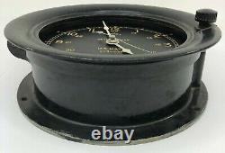 Seth Thomas 1942 US Navy Military 24 Hour Deck Boat Clock PARTS NO GLASS WithKEY