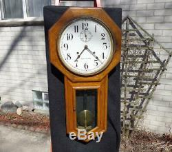Seth Thomas 30 Day World Wall Regulator Office Clock Seconds Bit Painted Dial