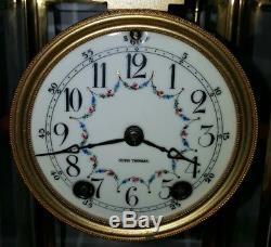 Seth Thomas 48N Mantel Clock Brass Crystal Regulator Beveled Glass Empire Deco