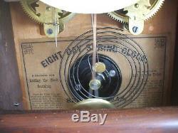 Seth Thomas 8 Day Mantel Clock 15 Tall Circa 1800's Very Nice withChime + Key
