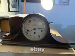 Seth Thomas 8 Day Westminster Chime Woodbury Mantle Clock Working -Tambour