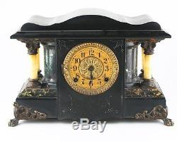Seth Thomas Adamantine Mantle Clock Larkin Model 35 c1900 with Original Bob & Key