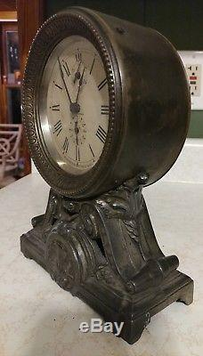 Seth Thomas Antique Long Alarm Clock Rare 100% Original Beautiful Shelf Mantle