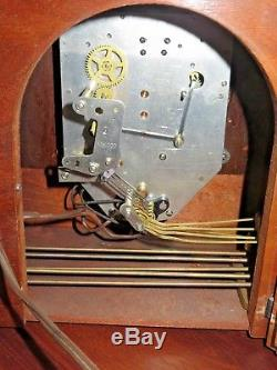 Seth Thomas Art Deco Clock Electric Wooden Mantel & Key 1940 Westminster Chime