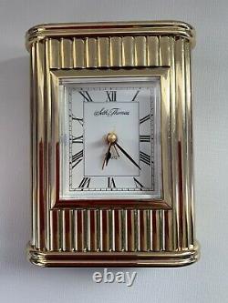 Seth Thomas Art Deco Mantel Clock All Brass Vintage 1960. Works With Alarm