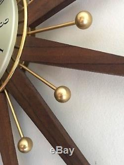 Seth Thomas Atomic Mid-century Wall Clock Vintage
