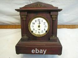 Seth Thomas Berkley Wooden Case Shelf/Mantle Chime Clock Porcelain Face Cabinet