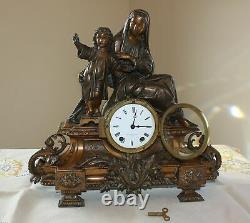 Seth Thomas Bronze Figural Clock Madonna Virgin Mary Christ Child Jesus Antique