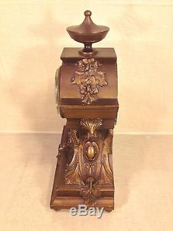 Seth Thomas Clock Bronze Look Case Jeweler Metal Face Runs and Strikes