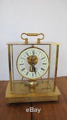 Seth Thomas Clock Glass Pendulum Mantle Brass Vintage Works GREAT