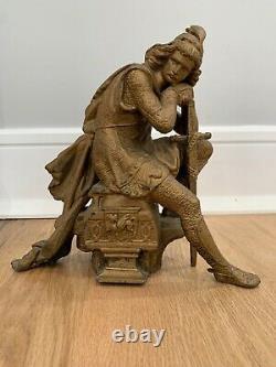 Seth Thomas Clock Statue Bronze Iron Roman Soldier Conquistador Sculpture