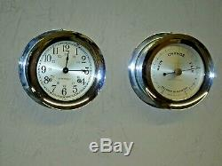 Seth Thomas Corsair Maritime Ships Bell Clock Barometer Set Nickel Brass Working