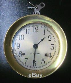 Seth Thomas Corsair Ship's Bells Clock, Solid Brass. With Key #E537-000