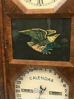 Seth Thomas Double Dial Calendar Shelf Clock. Reverse Painted Eagle. 1862 Patent