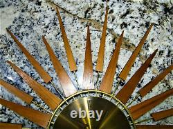 Seth Thomas E631-000 Starflower Wall Clock Starburst Vtg RUNS GOOD