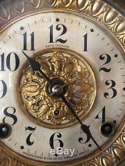 Seth Thomas Green, Black Adamantine Mantle Lions Heads Clock