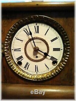 Seth Thomas Light Brown Adamantine Mantel Clock late 1800's WORKS Great