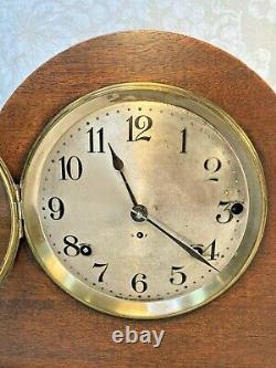 Seth Thomas Mahogany Tambour Case 2 Movement Clock 5 Rod Runs Strikes & Chimes
