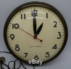 Seth Thomas Manager 12-C Electric School Industrial Model E877-018 Wall Clock