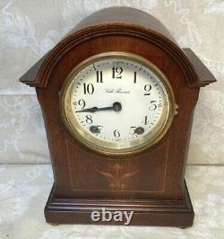 Seth Thomas Mantel Clock with Inlaid Mahogany Case Runs & Strikes 48J Movement