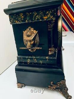 Seth Thomas Mantle Faux Marble Adarmantine Mantle Clock Works