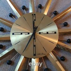 Seth Thomas Mid-Century Starburst sunburst Large metal brass Wall Clock
