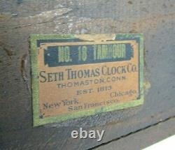 Seth Thomas No. 18 Tambour 8 Day Mantel Table Shelf Clock NICE