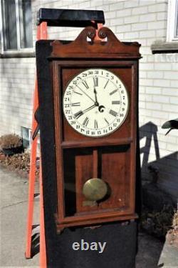 Seth Thomas No. 6 Oak Calendar Wall Regulator Office Clock Original Glass Label