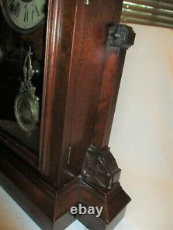 Seth Thomas Pittsburgh VP Mantel Clock City Series w Key Walnut pat July 30 1878