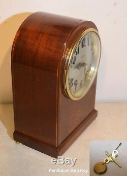 Seth Thomas Restored Amherst-1913 Antique Striking Clock In Mahogany With Inlay